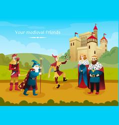 Medieval kingdom flat composition vector