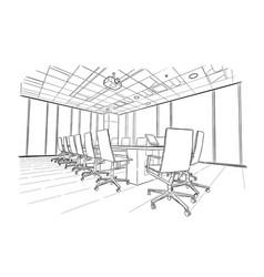 Meeting room hand drawn sketch vector