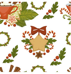 merry christmas coffee or tea warm beverage vector image