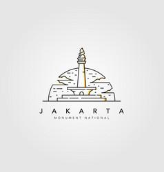 Monument national jakarta line art logo design vector