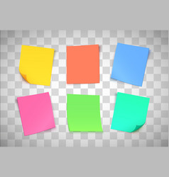 multicolor paper notes on transparent background vector image