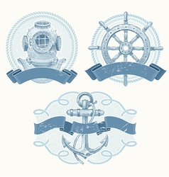 Nautical emblems with hand drawn elements vector
