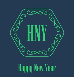 New Year festive Card monograms style Decorative vector