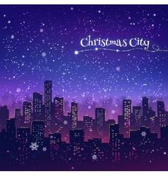 Night Christmas cityscape vector