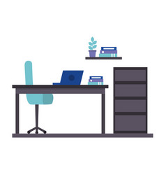 office work place isolated icon vector image