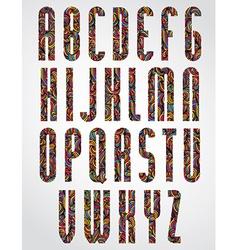 Pattern ornamental colorful narrow font upper case vector