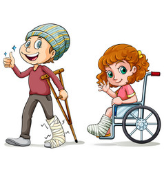 People with broken legs vector