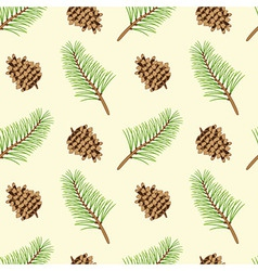 Pine branches and cones seamless texture vector