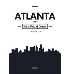 poster city skyline atlanta flat style vector image