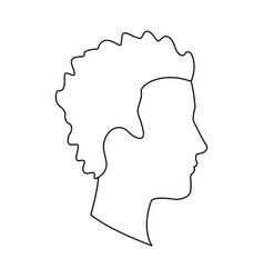 Profile head guy young character outline vector