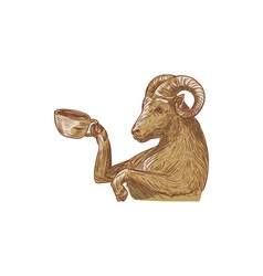 Ram goat drinking coffee drawing vector