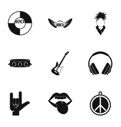 Rock instrument icon set simple style vector