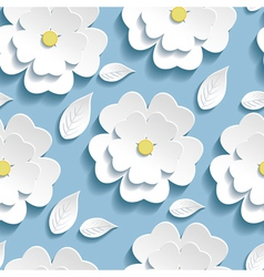 Seamless pattern blue with 3d sakura vector