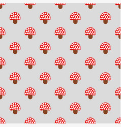 Seamless pattern with cute red fly agaric amanita vector