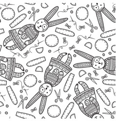 seamless pattern with handmade sewing bunny vector image