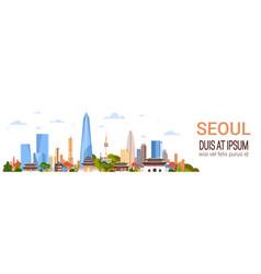 seoul city background skyline south korea view vector image