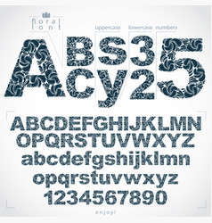 Set of beautiful letters and numbers decorated vector