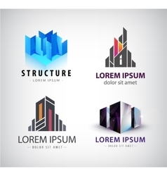 set of building logos 3d structure house vector image
