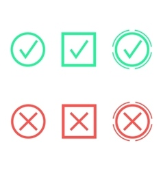 set of check marks in different shapes vector image