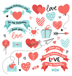 set of elements for valentines day wedding design vector image