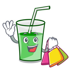 shopping green smoothie character cartoon vector image