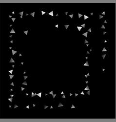 Silver confetti triangle on a black background vector