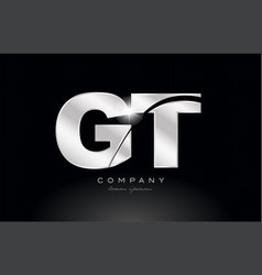 Silver letter gt g t metal combination alphabet vector