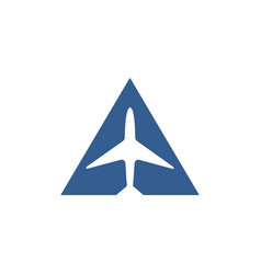 simple airplane in triangle logo vector image