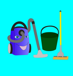Smiling vacuum cleaner bucket and mop vector