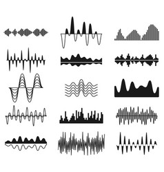 Sound frequency waves analog curved signal vector