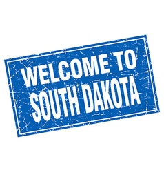 South Dakota blue square grunge welcome to stamp vector
