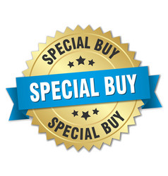 special buy 3d gold badge with blue ribbon vector image