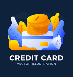 stack coins with a credit card stock isolated vector image
