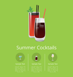 summer cocktails colorful vector image