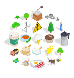 sweden culture icons set isometric style vector image