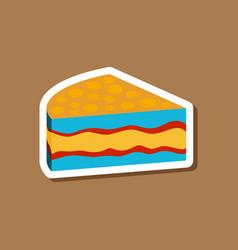 Sweet dessert in paper sticker cake vector
