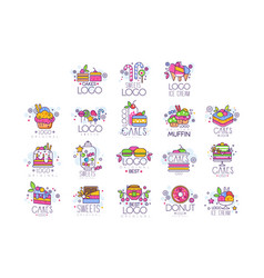 Sweets cakes ice cream logos set confectionery vector