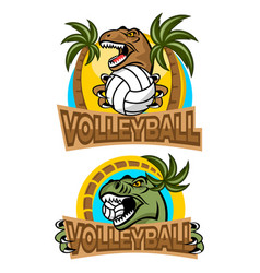 T-rex volleyball player logo vector