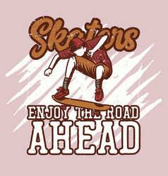 t shirt design skaters enjoy road ahead vector image