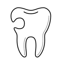 tooth with cavity icon vector image