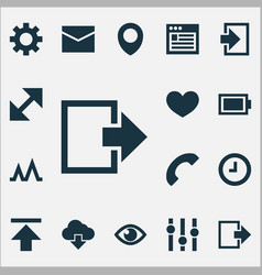user icons set with call heart mail and other vector image