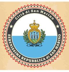 vintage label cards san marino flag vector image
