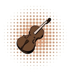 Violin comics icon vector image