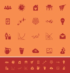 Virtual organization color icons on orange vector