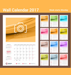 wall calendar planner template for 2017 year set vector image