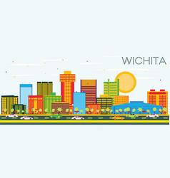 Wichita kansas usa city skyline with color vector