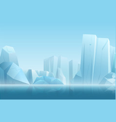 winter arctic landscape with iceberg in dark blue vector image
