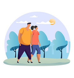 woman and man holding hand at datewalking at park vector image