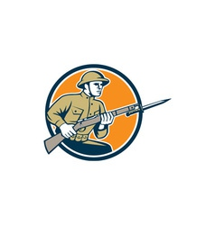 World War One Soldier American Retro Circle vector image vector image