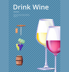 drink wine poster on blue vector image vector image